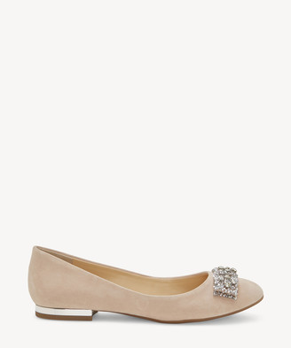 Jessica Simpson Women's Genevia Embellished Bow Flats Blush Size 6 Leather From Sole Society