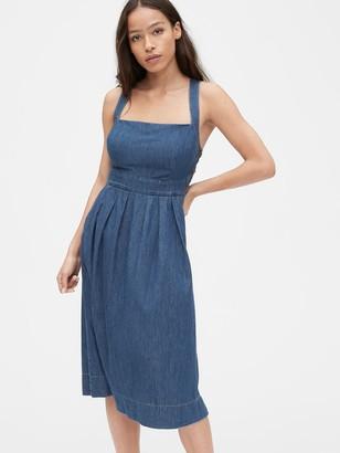 Gap Side-Button Apron Denim Dress