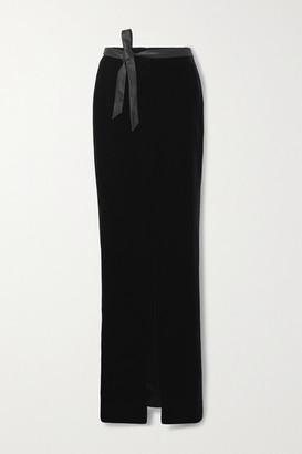 Saint Laurent Satin-trimmed Velvet Maxi Skirt - Black