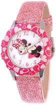 Disney Minnie Mouse Kids Pink Glitter Leather Strap Watch