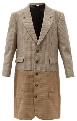 Vetements Two-tone Houndstooth Virgin-wool Coat - Brown