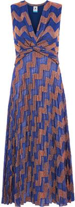 M Missoni Twist-front Pleated Metallic Crochet-knit Midi Dress