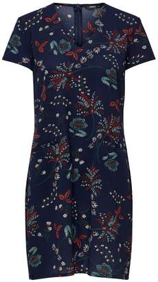 Only Floral Print Knee-Length Dress with Long Sleeves