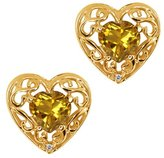 Gem Stone King 0.94 Ct Heart Shape Yellow Citrine and White Topaz 18k Yellow Gold Earrings