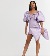 Asos Design DESIGN x Christian Cowan puff sleeve bow mini dress