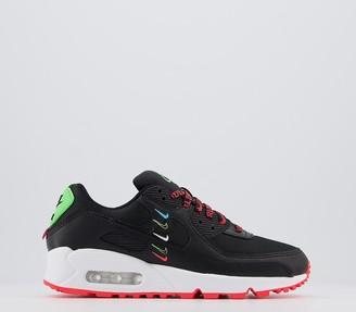 Nike 90 Trainers Black Black Flash Crimson Green Strike White Se