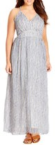 City Chic Plus Size Women's Metallic Plait Trim Stripe Maxi Dress
