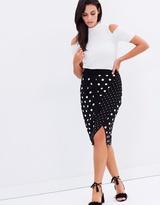 Oasis Spot Print Wrap Skirt
