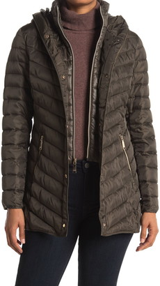 Nine West Mid Weight Puffer Coat with Removable Bib