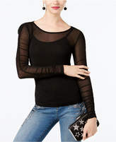 INC International Concepts I.n.c. Ruched-Sleeve Mesh Illusion Top, Created for Macy's