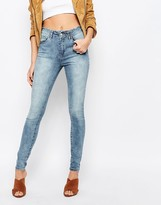 Vila High Waisted Raw Hem Skinny Jeans