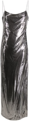 Balmain Metallic Side Slit Long Dress