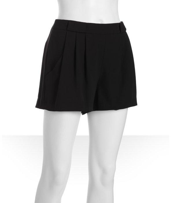 BCBGMAXAZRIA black stretch 'Burke' pleated shorts