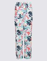 Marks and Spencer Linen Rich Printed Wide Leg Trousers