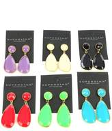 Bunnyberry EARRING / MULTI COLORED PACK / LUCITED STONE DANGLE / METAL FRAME / 12 PC / POST PIN / SOLD BY THE DOZEN / 2 1/4 INCH DROP / NICKEL AND LEAD COMPLIANT
