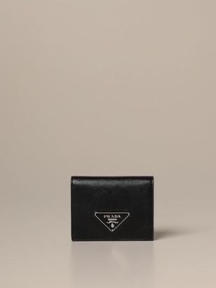 Prada Wallet In Saffiano Leather With Triangular Logo