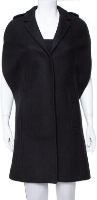 Gucci Black Wool Long Cape Coat S