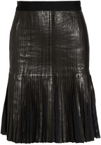 Herve Leger Pleated leather skirt