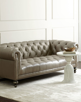 Old Hickory Tannery Morgan Gray Chesterfield Leather Sofa