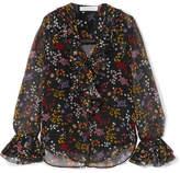 See by Chloe Ruffled Floral-print Fil Coupé Silk-georgette Blouse - Black