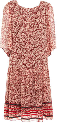 Anna Sui Gathered Floral-print Silk Mini Dress
