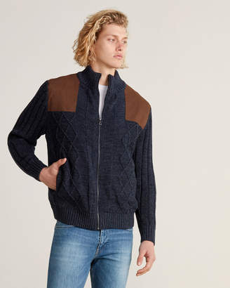 Weatherproof Vintage Navy Acre Cable Knit Detail Full-Zip Sweater