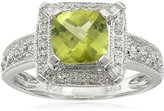 Amazon Collection Sterling Peridot and Diamond Cushion Halo Millgrain Ring (1/7 cttw, I-J Color, I2-I3 Clarity)