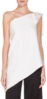 Roland Mouret Asymmetric Folded Satin Top, White