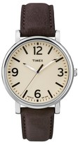 Timex Originals Watch with Leather Strap - Silver/Brown T2P5262B