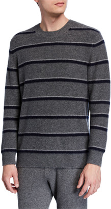 Vince Men's Striped Cashmere Crewneck Sweater