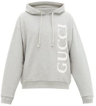 Gucci Logo-print Cotton Loop-back Hooded Sweatshirt - Mens - Light Grey