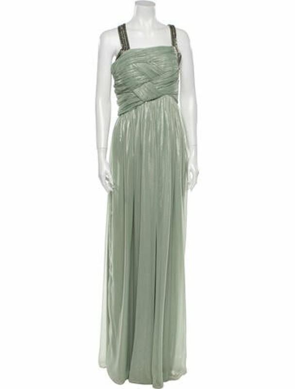 Matthew Williamson Square Neckline Long Dress Green