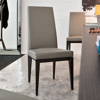 Calligaris Bess Leather Upholstered Parsons Chair Upholstery Color: Taupe, Frame Color: Wenge