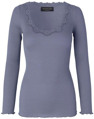 Rosemunde Blue Granite Silk Long Sleeve Blouse with Vintage Lace - xs | Blue Granite