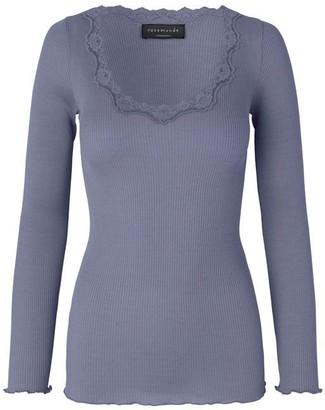 Rosemunde Blue Graphite Silk Long Sleeve Blouse with Vintage Lace (Babette 5369) - xs | Blue Graphite