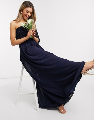 Chi Chi London Chi Chi Bridesmaid Toyah ine shoulder maxi dress in navy