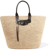Balenciaga Panier Large Leather-trimmed Raffia Tote - Sand