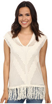 Vince Camuto Sleeveless V-Neck Pointelle Sweater w/ Fringe