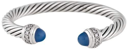 David Yurman Cable Classics Sterling Silver with Chalcedony & 0.04ct Diamond Bracelet