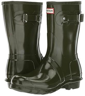 Hunter Short Gloss (Dark Olive) Women's Rain Boots