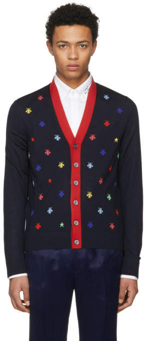 Gucci Navy Insect Cardigan