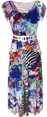 Lalipop Design Multi-Color Tulle Maxi Dress With Transparent Belt