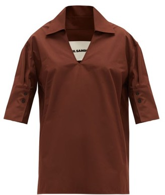 Jil Sander Point-collar V-neck Cotton Blouse - Womens - Brown