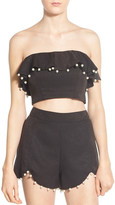 NBD &Baby Baby& Embellished Strapless Crop Top