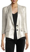 Smythe Pagoda Metallic One-Button Blazer, Beige