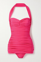 Thumbnail for your product : Norma Kamali Bill Mio Ruched Halterneck Swimsuit - Fuchsia