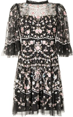 Needle & Thread Floral Embroidered Tulle Dress