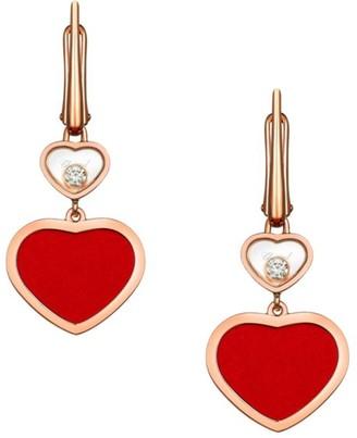Chopard Happy Hearts 18K Rose Gold, Diamond & Red Stone Drop Earrings