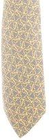 Hermes Horsebit Swirl Link Print Silk Tie