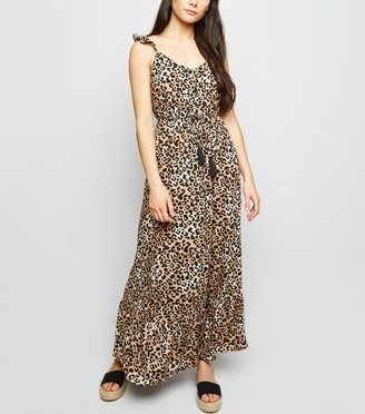 New Look Leopard Print Button Front Maxi Dress